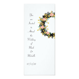 """Wreath """"Pink Yellow"""" Flowers Floral Invitations"""