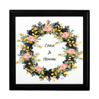 "Wreath ""Pink Yellow"" Flowers Floral Jewelry Box"