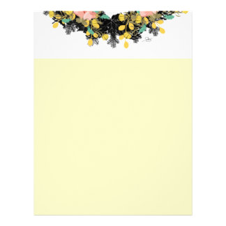 "Wreath ""Pink Yellow"" Flowers Floral Letterhead"