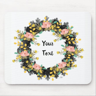 """Wreath """"Pink Yellow"""" Flowers Floral Mousepad"""