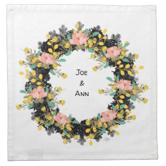 "Wreath ""Pink Yellow"" Flowers Floral Napkins"