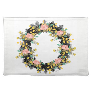 "Wreath ""Pink Yellow"" Flowers Floral Placemat"