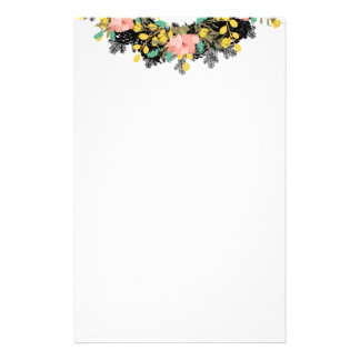 """Wreath """"Pink Yellow"""" Flowers Floral Stationery"""