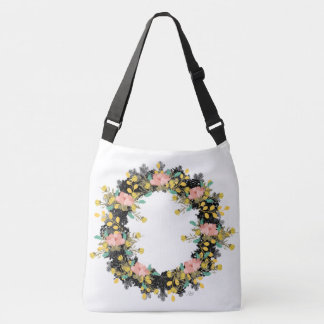 "Wreath ""Pink Yellow"" Flowers Floral Tote Bag"