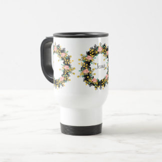 "Wreath ""Pink Yellow"" Flowers Floral Travel Mug"
