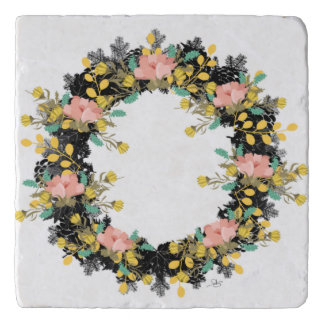 """Wreath """"Pink Yellow"""" Flowers Floral Trivet"""