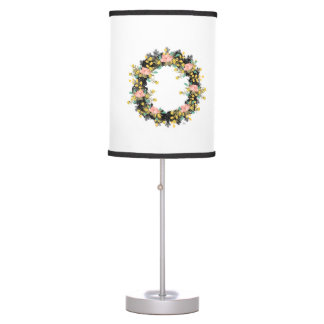 "Wreath ""Pink Yellow"" Flowers Floral Vector Lamp"