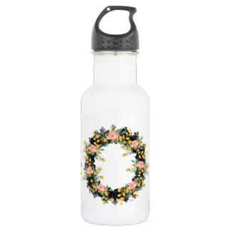 """Wreath """"Pink Yellow"""" Flowers Floral Water Bottle"""