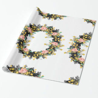 """Wreath """"Pink Yellow"""" Flowers Floral Wrapping Paper"""