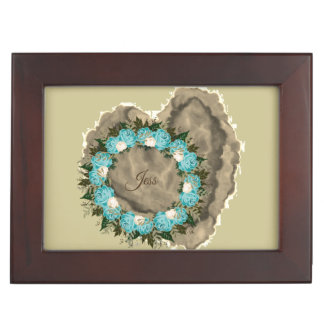 "Wreath ""Pretty Blue"" Flowers Floral Jewelry Box"