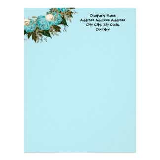 "Wreath ""Pretty Blue"" Flowers Floral Letterhead"