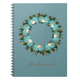 "Wreath ""Pretty Blue"" Flowers Floral Notebook"