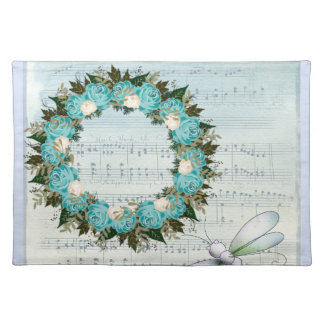 "Wreath ""Pretty Blue"" Flowers Floral Placemat"