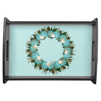 "Wreath ""Pretty Blue"" Flowers Floral Serving Tray"