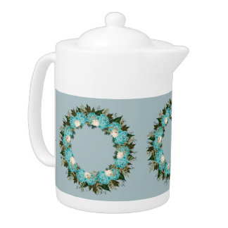 "Wreath ""Pretty Blue"" Flowers Floral Teapot"