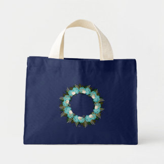 "Wreath ""Pretty Blue"" Flowers Floral Tote Bag"