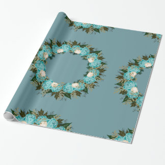 "Wreath ""Pretty Blue"" Flowers Floral Wrapping Paper"