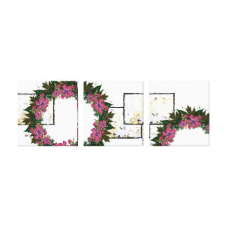 "Wreath ""Purple Dot"" Flowers Floral Canvas Print"