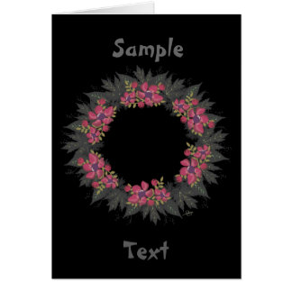 "Wreath ""Purple Dot"" Flowers Floral Greeting Card"