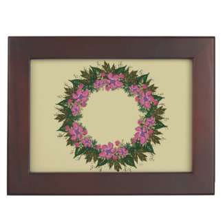 "Wreath ""Purple Dot"" Flowers Floral Jewelry Box"
