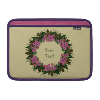 "Wreath ""Purple Dot"" Flowers Floral Laptop Sleeve"