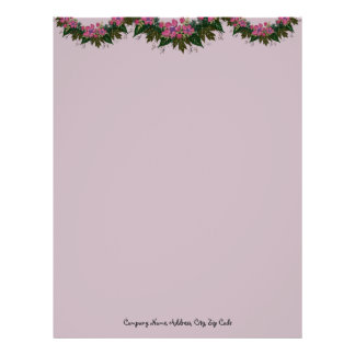 "Wreath ""Purple Dot"" Flowers Floral Letterhead"