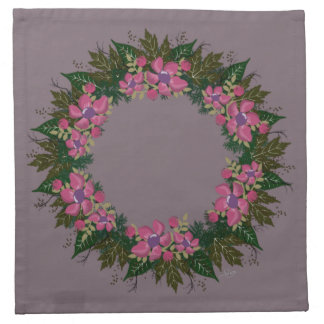 "Wreath ""Purple Dot"" Flowers Floral Napkins"