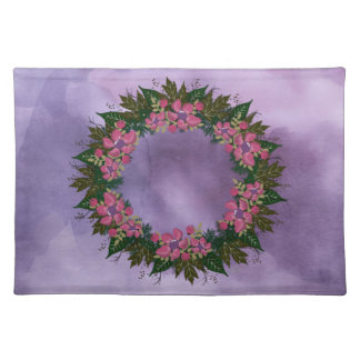 "Wreath ""Purple Dot"" Flowers Floral Placemat"