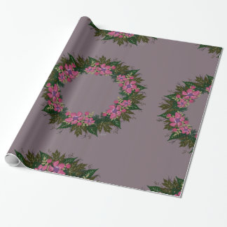 """Wreath """"Purple Dot"""" Flowers Floral Wrapping Paper"""