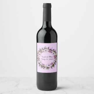 Wreath Purple Wedding Flower Floral Wine Labels