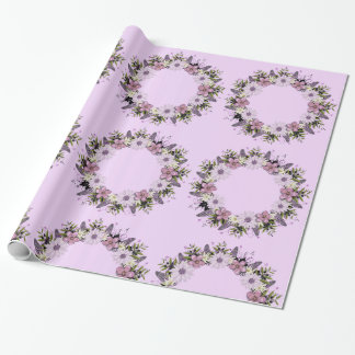 Wreath Purple Wedding Flower Floral Wrapping Paper