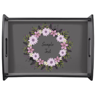 Wreath Purple Wedding Flowers Floral Serving Tray