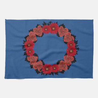 """Wreath """"Red Heart"""" Red Flowers Kitchen Towel"""