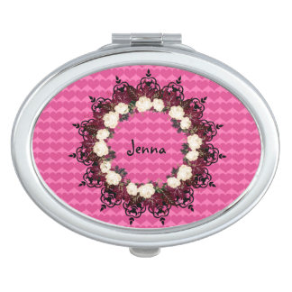 """Wreath """"Red Leaf"""" Flowers Floral Compact Mirror"""