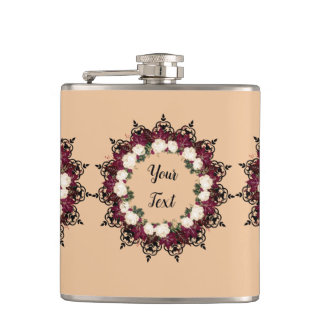 "Wreath ""Red Leaf"" Flowers Floral Flask"