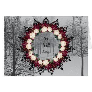 "Wreath ""Red Leaf"" Flowers Floral Greeting Card"