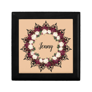 "Wreath ""Red Leaf"" Flowers Floral Jewelry/GIft Box"