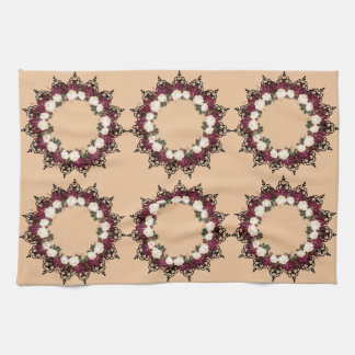 "Wreath ""Red Leaf"" Flowers Floral Kitchen Towels"