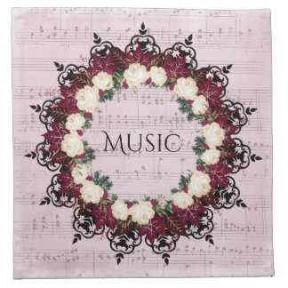"Wreath ""Red Leaf"" Flowers Floral Napkins"