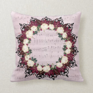 """Wreath """"Red Leaf"""" Flowers Floral Pillow"""