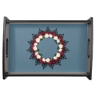 "Wreath ""Red Leaf"" Flowers Floral Serving Tray"