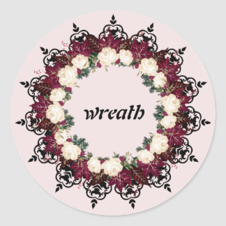 """Wreath """"Red Leaf"""" Flowers Floral Stickers"""