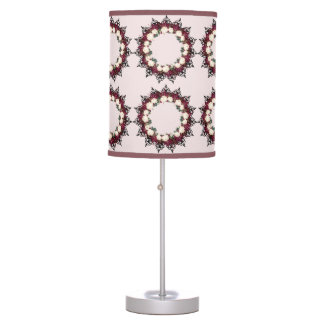 "Wreath ""Red Leaf"" Flowers Floral Table Lamp"