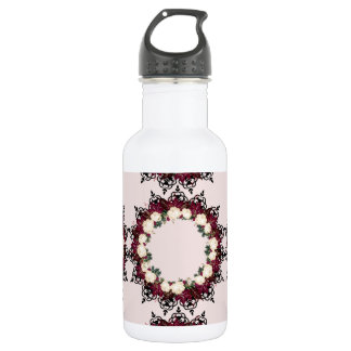 """Wreath """"Red Leaf"""" Flowers Floral Water Bottle"""