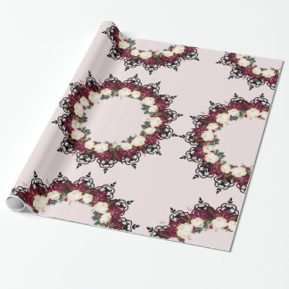 """Wreath """"Red Leaf"""" Flowers Floral Wrapping Paper"""