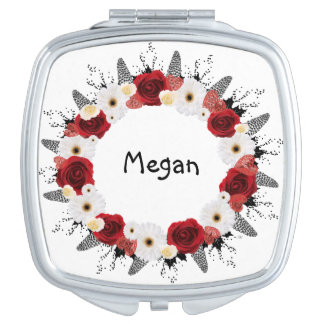 "Wreath ""Red Wedding"" White Flowers Compact Mirror"