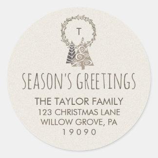 Wreath Season's Greetings Christmas Return Address Classic Round Sticker