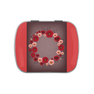 """Wreath """"Simple Circle"""" Pink/Red Flowers Candy Tin"""