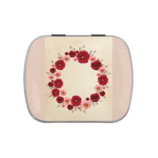 """Wreath """"Simple Circle"""" Red/Pink Flowers Candy Tin"""
