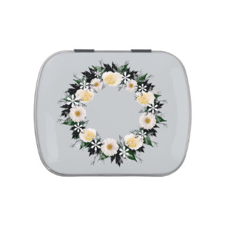 """Wreath """"Simple Star"""" White Roses/Daisies Candy Tin"""